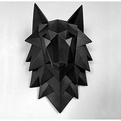 QWERWEFR Dekoration Zubehör Wolf Kopf Skulptur Wand Hängen Dekor Nordic 3D Statue Wohnzimmer Wandbild Kreative Bar Cafe Kunsthandwerk,B