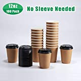 [100 Pack] 12 oz Disposable Coffee Cups with Lids | Double Wall | Insulated To Go Paper Cups for Hot Beverages | No Sleeves needed | No Leak | Coffee Cup Set– Kraft by Whole Ware Supply (100, 12 OZ)