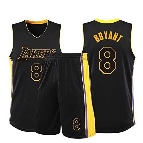 MMK Kobe Bryant # 8 Herren Basketball Trikot Herren Trikots Sport Uniform Gittergewebe Oben einstellen (Color : Black, Size : XXXL)