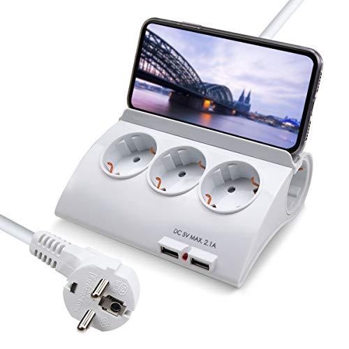 ExtraStar Regleta con 5 enchufes y 2 puertos USB e interruptor,cable de alimentación de 1,5 metros de largo con enchufe de eléctricas y protección para niños Europe 3680W 230V 16A