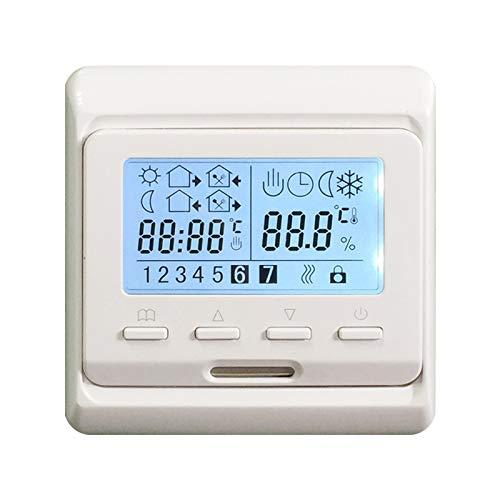 Huachaoxiang Termostato, Pantalla LCD Digital Regulador De Temperatura Programable Control Remoto Controlador Caldera Pared Termostato Sanitario,Blanco