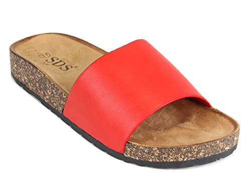 Frentree Damen Sandalen mit Metallschnalle Buckle | Bunte Pantoletten Zur Summer, Größe Normal:41, Farbe:Red