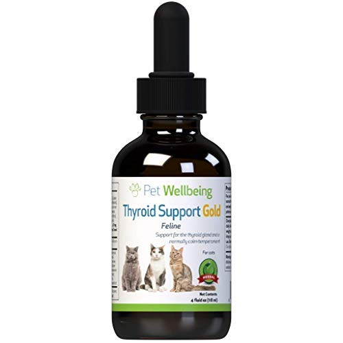 Pet Wellbeing Thyroid Support Gold for Cats - Natural Support for Thyroid Gland and Normal Calm Temperament in Felines - 4oz (118ml)
