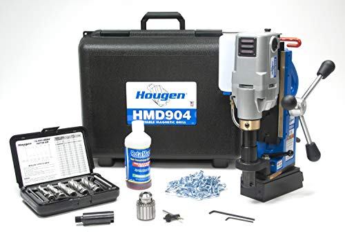 Hougen HMD904S 115-Volt Swivel Base Magnetic Drill Fabricator's Kit with Integrated Coolant Bottle Plus 1/2' Drill Chuck, Adapter, and 12002 Rotabroach Cutter Kit
