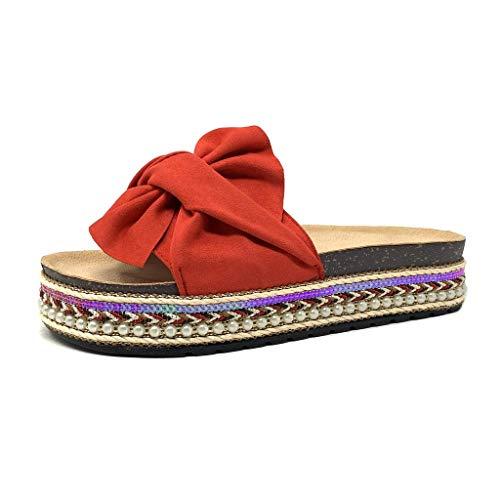 Angkorly - Scarpe Moda Scarpe Mulo Infradito Folk/Etnico Ciabattina Suola Grande Donna Nodo Perla Intrecciato Tacco Piatto 4 CM - Rosso 3 S62 T 37