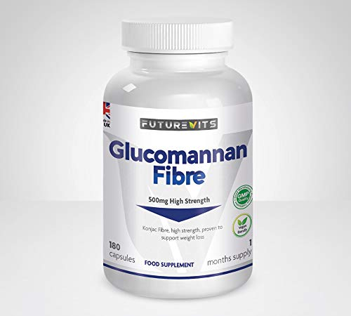 Glucomannan Capsules 500mg Appetite Suppressant Supplement for Weight Loss Made in UK Futurevits Vegan & Vegetarian Friendly 180 Capsules