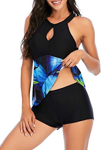 FOBEXISS Conjunto de traje de baño Tankini con cuello halter estampado floral vestido de natación con parte inferior traje de baño control de barriga