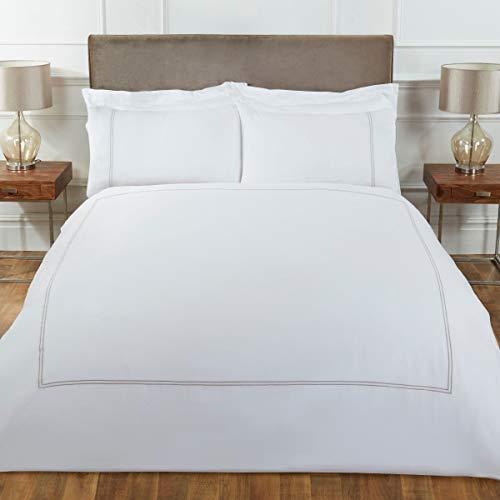 Sleepdown Juego edredón Suave de Lujo con Fundas de Almohada de 100% satén de algodón de 300 Hilos, tamaño Super King (260 x 230 cm), Blanco visón, Matrimonio Grande