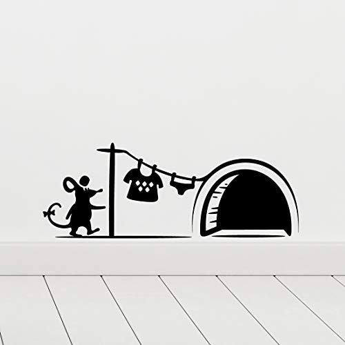 Adhesivo decorativo para pared con diseño de agujero de ratón, para cuarto de bebé, diseño de banksy, para cocina, gato, extraíble, para pared, decoración de niños, escaleras, color negro