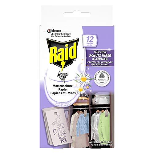 Raid (Paral) Mottenschutz-Papier, Mottenschutz für den Kleiderschrank, 1er Pack (1 x 12 Stück)