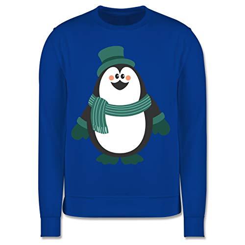 Shirtracer Weihnachten Kind - Winter Pinguin Hut Schal - 140 (9/11 Jahre) - Royalblau - Zylinder - JH030K - Kinder Pullover