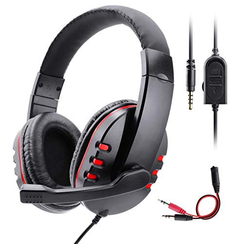 PS4 Headset, Diswoe Gaming Headset for Xbox one 3.5mm Wired Over-Head Stereo Gaming Headset Headphone with Mic Microphone, Volume Control for Sony PS4 PC Tablet Laptop Smartphone Xbox One Headsets