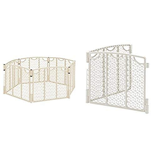 Evenflo Versatile Play Space, Cream with Versatile Play Space 2-Panel Extension, Cream