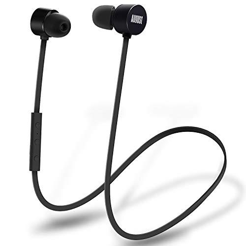 In Ear Bluetooth Sport Kopfhörer - August EP616 - Wasserfeste (IPX4) Ohrhörer mit Bluetooth v4.1 aptX und CVC 6.0 Noise Cancellation (schwarz)