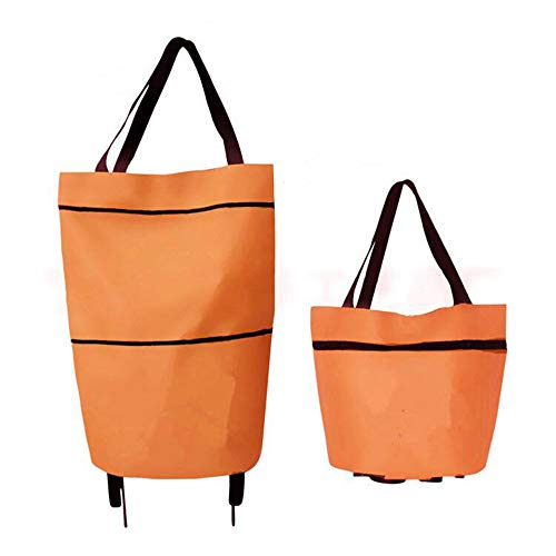 Galapara Collapsible Trolley Bags Folding Shopping Bag with Wheels Foldable Shopping Cart Reusable Shopping Bags Grocery Bags Shopping Trolley Bag on Wheels for Women Daily Use, Orange