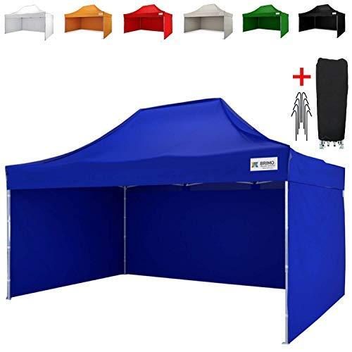 BRIMO  ® Faltzelt Partyzelt faltpavillion + Gratis 3 Wände und 100% WASSERDICHT (3x4,5m, Blau)