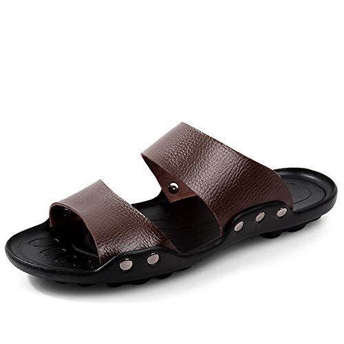 kengbi Sandalias de Hombre Deportes de Verano al Aire lib Sandalias para Hombre Zapatillas de Moda Zapatos con Cordones Estilo OX Remache de Cuero Refuerzo Dos Estilos