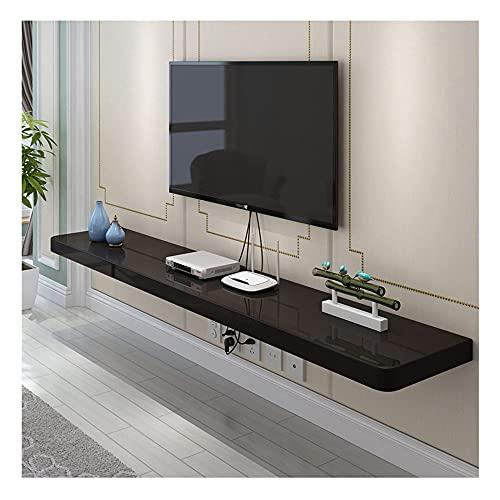 DRAGDS Consola de Medios de Tv Flotante de Tv Mueble de Televisión Montado en la Pared, para Sala de Estar, Sala de Entretenimiento, Oficina/Negro / 140 × 24 × 2.5Cm,Negro,80 × 24 × 2.5Cm