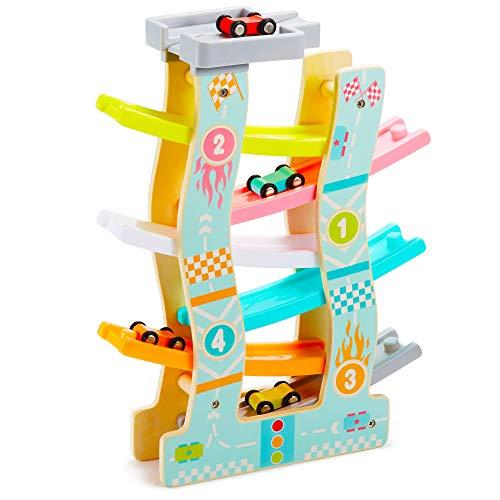 AGAKY Auto Murmelbahn Holz Kugelbahn Autorennbahn Holz ab 1 Jahr mit 8 Rennautos Geschenk Spielzeug für Kleinkinder Baby (6 Spuren)