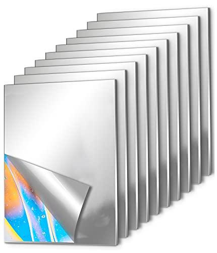 10 Piezas Espejos de Pared Adhesivos, EONAZE Rectángulo Acrílico para Espejo Creativo de Empalme de Pared, Espejo Decorativos Flexible Autoadhesivo de Pared Sin Marco (15 x 23cm)