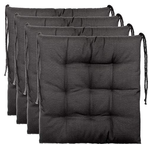 Brandsseller Sitzkissen Dekokissen Stuhlkissen Zierkissen Gartenkissen 9er Steppung - Größe: ca. 40 x 40 cm - 4er Vorteilspaket - Anthrazit