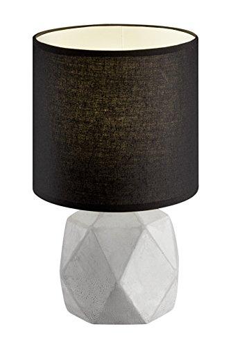 Reality Leuchten R50831002 Pike, Tischleuchte, Keramik, E14, Schwarz, 16 x 16 x 28 cm, Schirm Schwarz