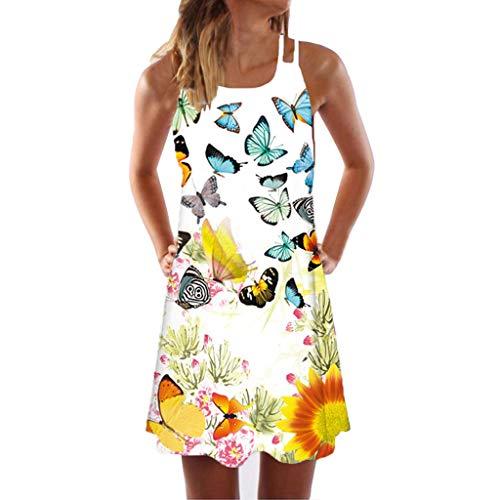 iYmitz Große Größe Sommerkleider Damen Casual Ärmellos T-Shirt Kleid Kurzen Blumen Bedrucktes Strandkleider mit Schmetterling
