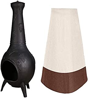"""33"""" Height Patio Chiminea Cover, Protective Backyard Fire Chimney Cover, Heavy Duty Clay Fire Pot Heater Pot Cover, Weathe..."""