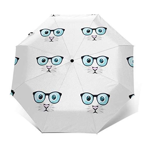 Regenschirm Taschenschirm Kompakter Falt-Regenschirm, Winddichter, Auf-Zu-Automatik, Verstärktes Dach, Ergonomischer Griff, Schirm-Tasche, Cat Eye Brille