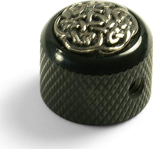 Q-Parts Dome Knob - CELTIC WEAVE ON DARK BLACK, KDBD-0168