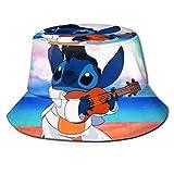 Sombrero de Pescador de Lilo Stitch, protección UV de Verano, Sombreros de Cubo de Viaje, Gorra de Sol Plegable para Playa para Hombres y mujeres-E19