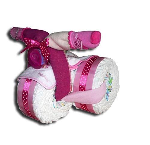 Tarta de pañales mágica con forma de triciclo para niños y niñas, regalo para baby shower, bautizo, nacimiento, color rosa