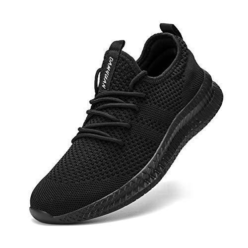 MGNLRTI Zapatillas Sneakers Running para Hombre Aire Libre y Deporte Transpirables Casual Zapatos Gimnasio Correr Zapatos de Tenis Negro 40EU