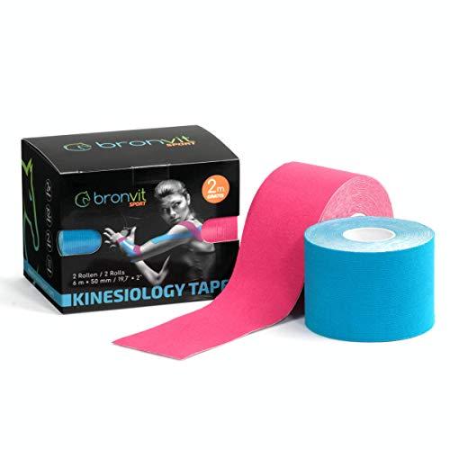 BronVit Kinesio Tape 6m x 5cm (2 Rollen) | Mehrfarbige Variationen | Therapeutisches Physio Tape, Wasserfest, Elastisch, Hypoallergen | Sport Klebeband und Muskel Bandage|Fitness Zubehör (Rosa + Blau)