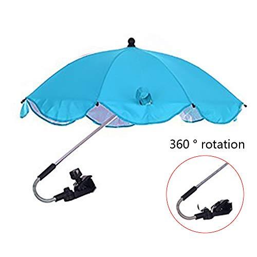 YQY Bébé Pram Umbrella 68cm Diamètre bébé Universel Parasol, Couvertures Sun, avec Universal réglable, pour Pram, Poussette, Tout-Petits, Poussette, Buggies, Landau,Cyan