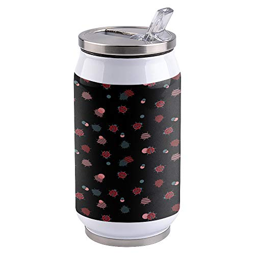 13.5oz Stainless Steel Liner Vacuum Tumbler Ladybug Thermal Insulation Vacuum Cup with Straw & Slider Lid Red Black Portable Cola Can for Travel, Sports, Camping