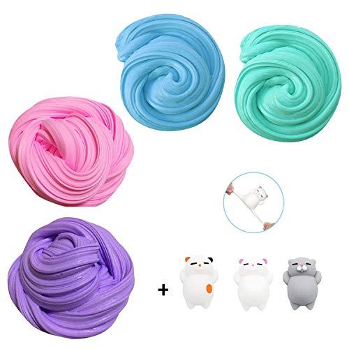 Fluffy Slime Kit, TIME4DEALS 4-Pack Jumbo...