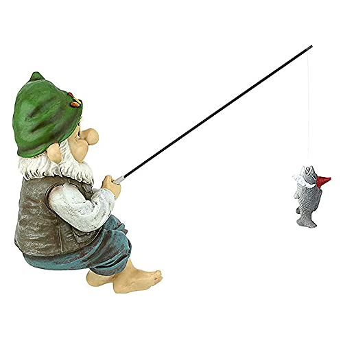 Garden Gnome Statue, Fishing Garden Resin Statue, Sitting Fishing Garden Figures Decor Outdoor Naughty Art Sculptures…