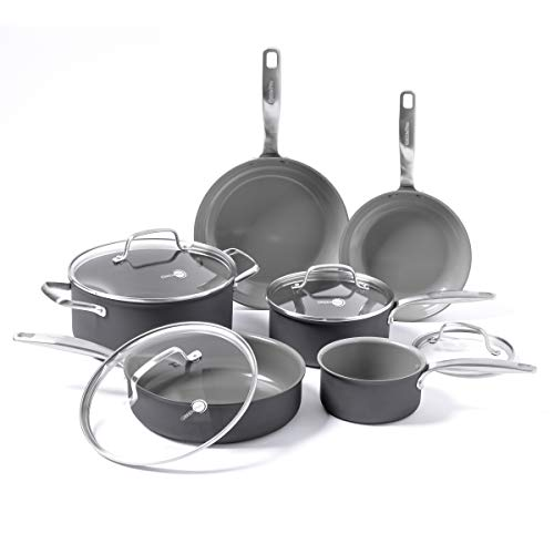 GreenPan Chatham ceramic Non-Stick 10Pc Cookware Set, Grey -