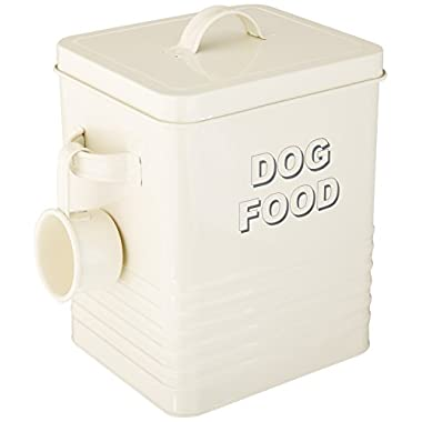 The Leonardo Collection LP22217 Sweet Home Dog Food Storage Tin with Scoop, Cream