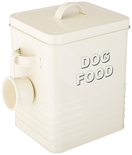 The Leonardo Collection Sweet Home Dog Food Storage Tin with Scoop, Cream