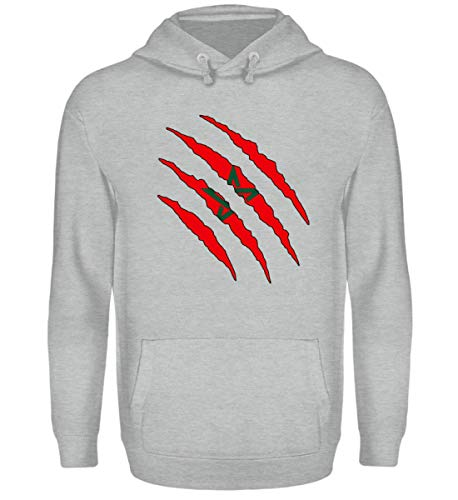 PlimPlom Marokko Pullover Land Flagge Design Pulli Sweatshirt Spaßgeschenk Geschenk Idee - Unisex Kapuzenpullover Hoodie -M-Sportgrau Heather