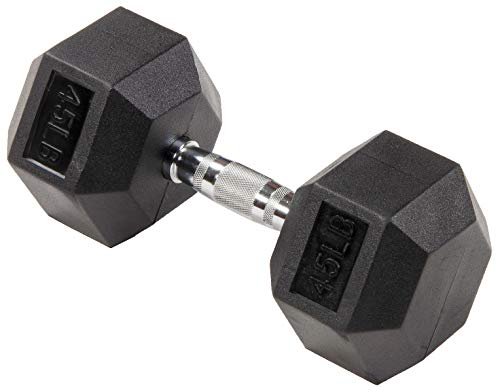 Sporzon! Rubber Encased Hex Dumbbell, Single, Black