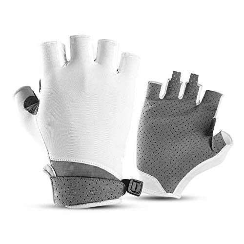 Guantes de protección solar acolchados para deportes al aire libre y medio dedo para ciclismo, bicicleta, moto, motocicleta, antigolpes, color blanco, tamaño: M)