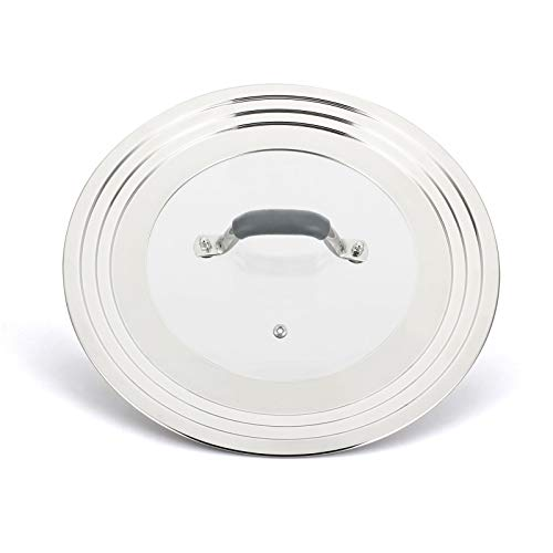 WISH Universal Pans Pots Lid Cover Fit All 7 Inch to 12 Inch Pots/Pans/Woks Stainless Steel and Glass Lid with Heat Resistant Knob