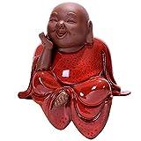 estatua buda Decoración de la estatua de Buda de cerámica, Decoración de Buda sonriente, Buda de cerámica encantadora, para la sala de estar Decoraciones de oficina en casa Regalo Estatuilla decoració