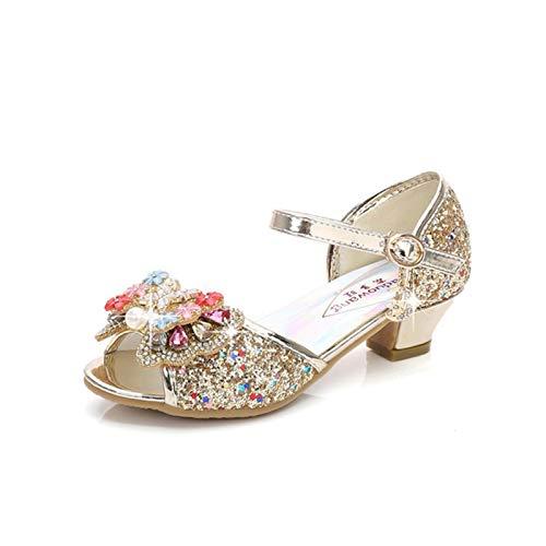 Youpin Zapatos de piel para niñas de princesa con purpurina, estilo casual, con purpurina, para niños, de tacón alto, con nudo de mariposa, azul, rosa, plata (color: Z dorado, talla de zapato: 36)