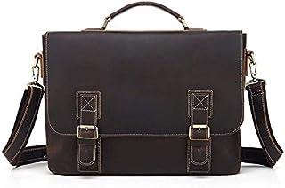 Fresh wild simple fashion Men's Briefcase Simple Retro Zipper Leather Business Briefcase Computer Bag Shoulder Bag Messeng...