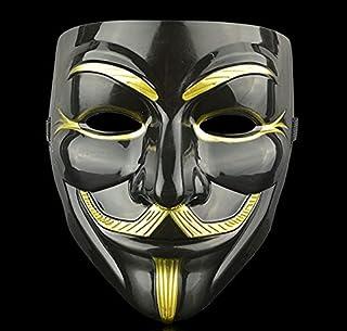 QG Group V for Vendetta Face Mask Black for Men - Black Guy Fawkes Face Mask Anonym Maske Adult - The Black Anonymous Mask...