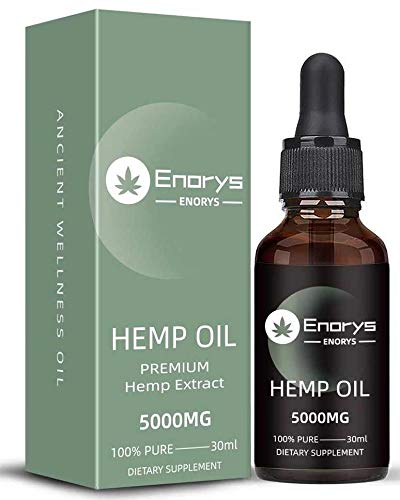 Enorys Pure Hemp Oil – 5000 mg Pure Hempseed Oil Drops – 30 ml Natural Hemp Oil for Pain Relief, Stress and Sleep Management – Liquid Hemp Extract with Omega 3 and 6 – Vegan-Friendly Formula